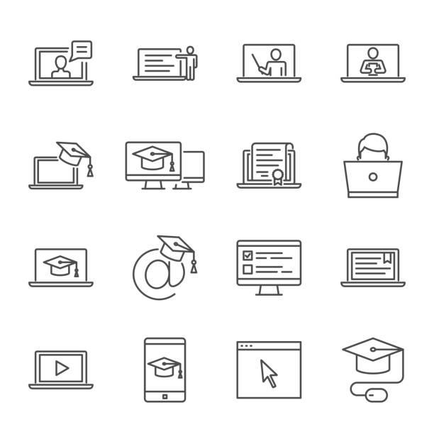 線上教育、電子學習向量圖示集 - 互聯網 幅插畫檔、美工圖案、卡通及圖標