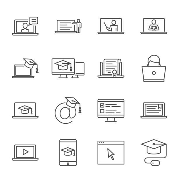 stockillustraties, clipart, cartoons en iconen met online onderwijs, e-learning vector icons set - leren