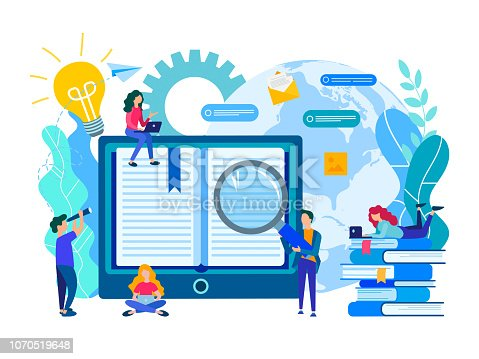 Online education, e-library, communication and study of students with the help of modern media technologies, the concept of obtaining knowledge from anywhere in the world. Vector illustration for banners, social media, presentations and posters.