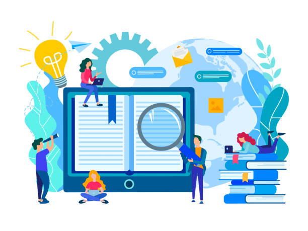ilustrações de stock, clip art, desenhos animados e ícones de online education, e-library, communication and study of students with the help of modern media technologies, the concept of obtaining knowledge from anywhere in the world - webinar anuncio