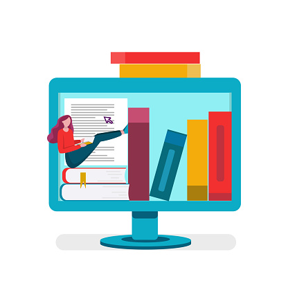 Online education, E-library, online reading, internet bookstore, remote training classes service. Vector illustration isolated on a white background