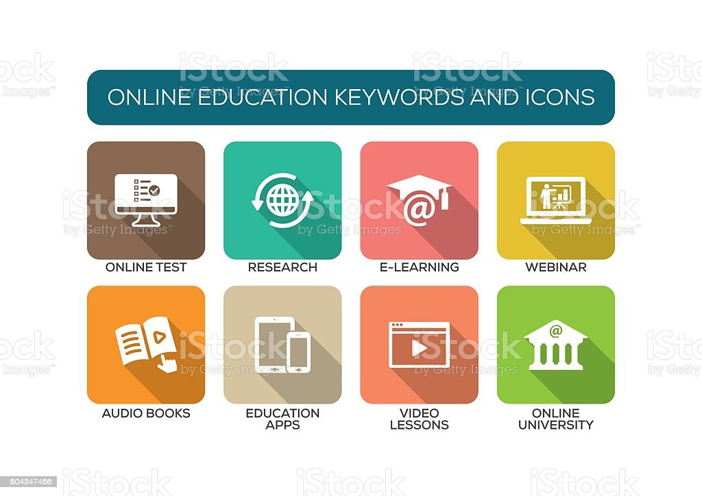 Online Education Flat Icon Set vector art illustration