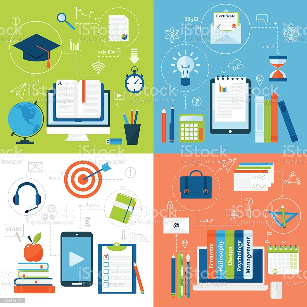 Online education flat icons vector set of distance school and vector art illustration