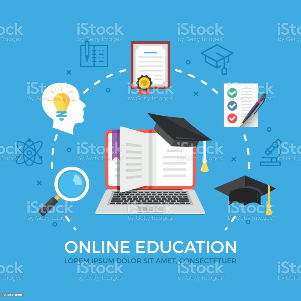Online education flat illustration concept. Elearning, e-learning, online courses concepts. Laptop with book and graduation hat. Creative flat icons set, thin line icons set. Modern vector illustration vector art illustration