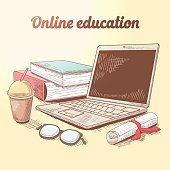 Online Education Hand Drawn Concept