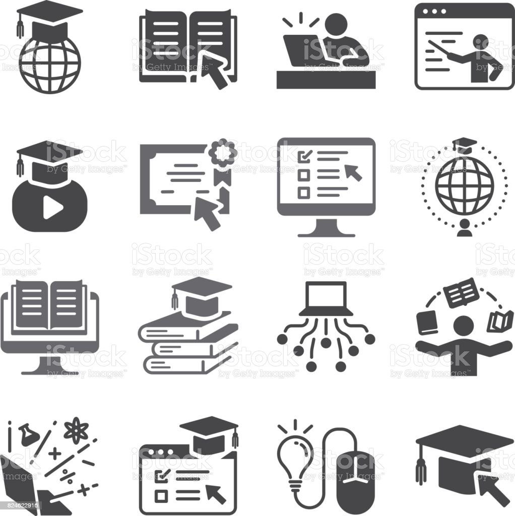 Online education icon set. Included the icons as graduated, books, student, course, school and more. vector art illustration