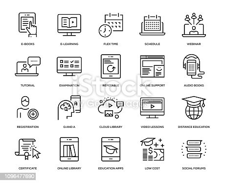 Online Education Icon Set - Thin Line Series