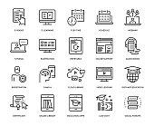 Online Education Icon Set - Thin Line Series