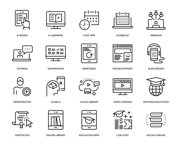 stockillustraties, clipart, cartoons en iconen met online onderwijs icon set - agenda