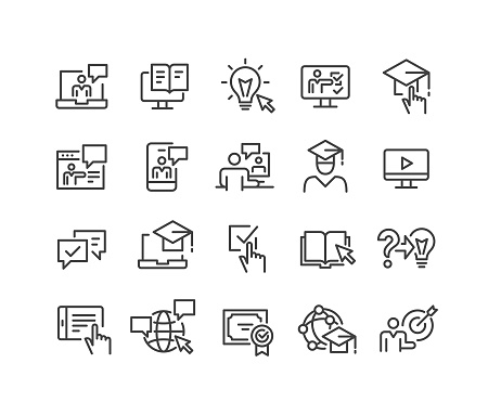 Online Education Icons - Classic Line Series