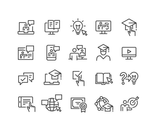 Online Education Icons - Classic Line Series Online Education, training stock illustrations