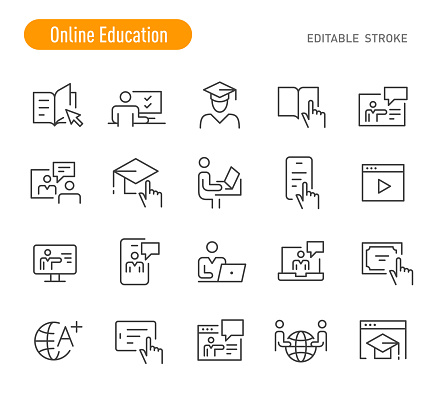 Online Education Icons (Editable Stroke)