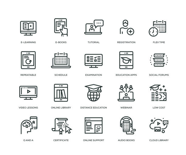 online education icons - line series - online learning stock illustrations