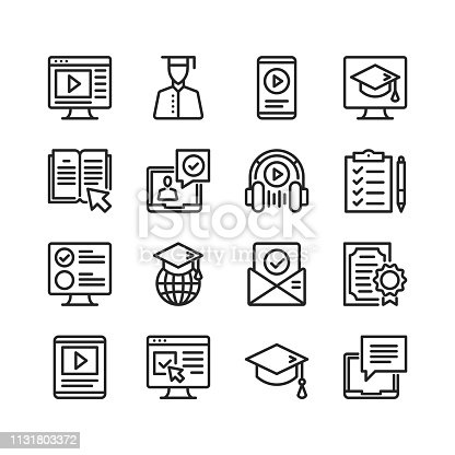 Online education icons set. Online tutorials, e-learning concepts. Pixel perfect. Linear, outline symbols. Thin line design. Vector line icons set