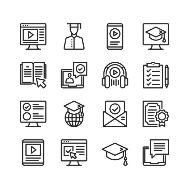 線上教育圖示設置。線上教程, 電子學習概念。圖元完美。線性, 輪廓符號。細線設計。設置了向量線圖示 - 構圖 幅插畫檔、美工圖案、卡通及圖標