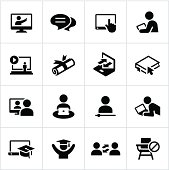 Online learning icons. All white strokes/shapes are cut from the icons and merged allowing the background to show through.