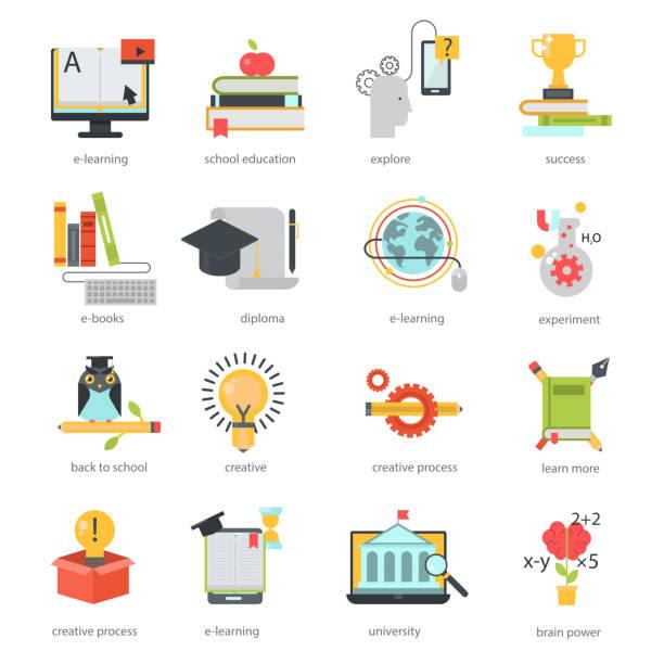ilustrações de stock, clip art, desenhos animados e ícones de online education icons vector set distance school symbols - teacher school solo