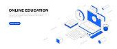 istock Online Education Isometric Banner Design 1267210971