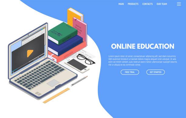 stockillustraties, clipart, cartoons en iconen met online onderwijs isometrische banner - e learning