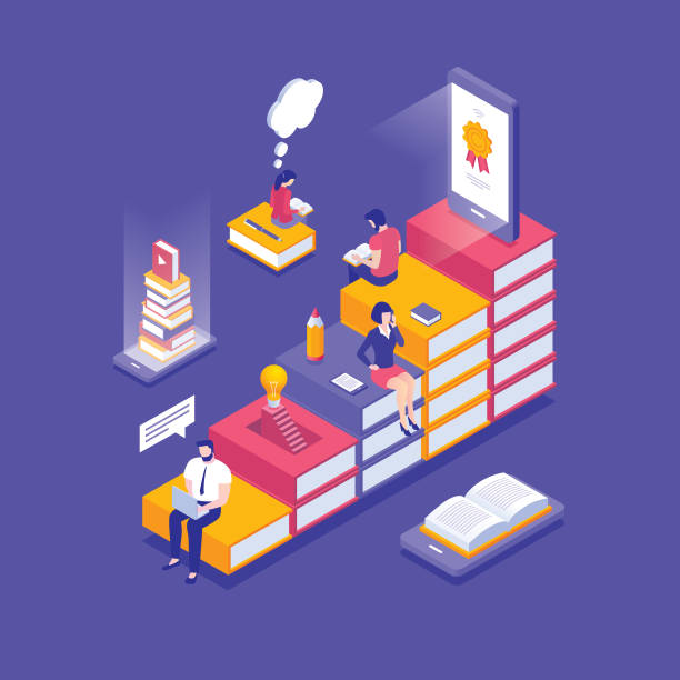 ilustrações, clipart, desenhos animados e ícones de isométrica conceito de educação on-line - e-learning not icons