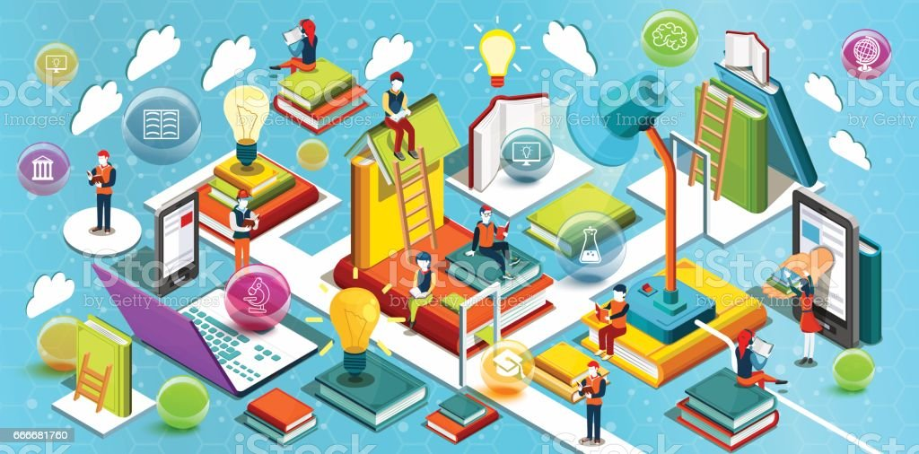 Online education Isometric flat design. The concept of reading books in the library and in the classroom. Concept of education. Learning process. University studies. Vector illustration vector art illustration