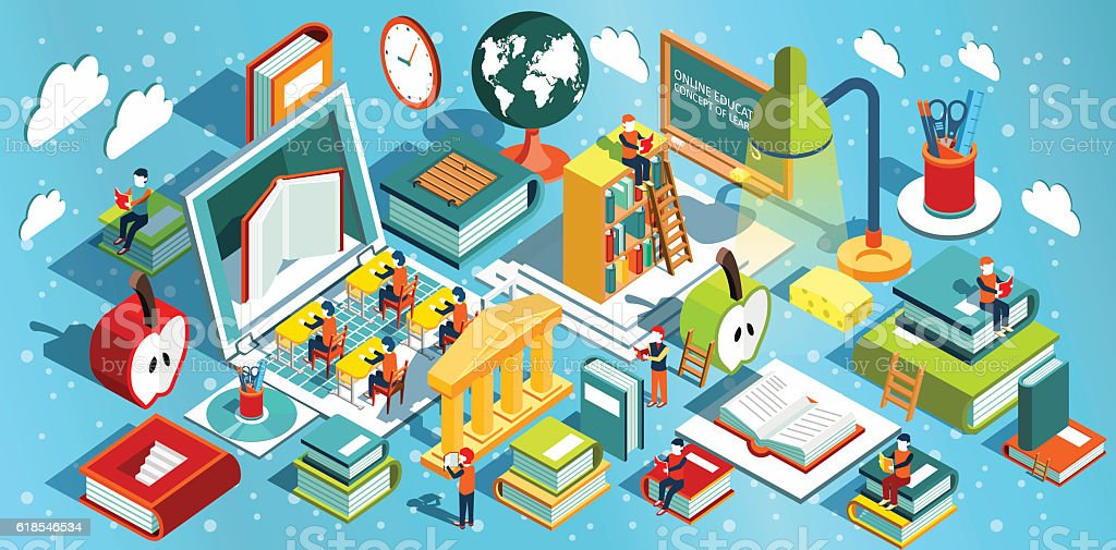 Online education Isometric flat design. vector art illustration