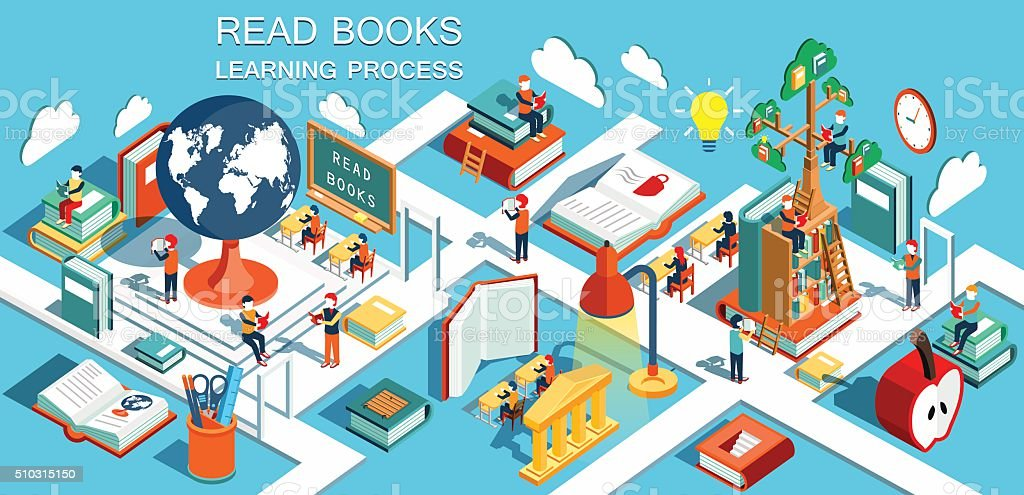 Online education Isometric flat design. Vector illustration vector art illustration