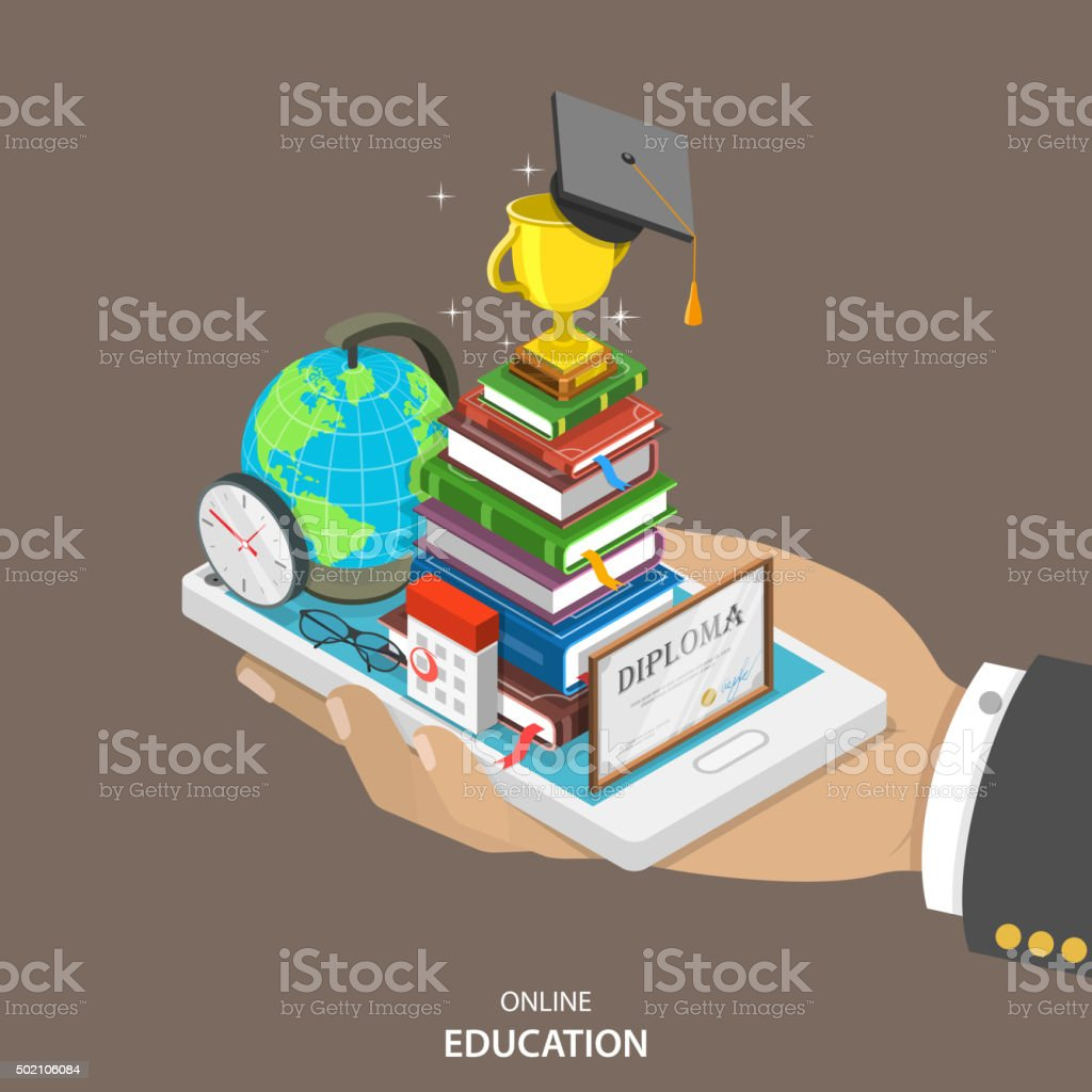 Online education isometric flat vector concept. vector art illustration
