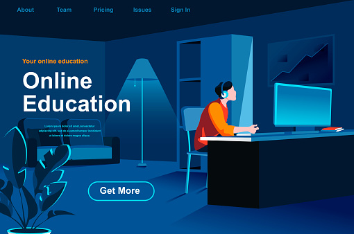 Online education isometric landing page. Young man studying with computer at workplace situation.