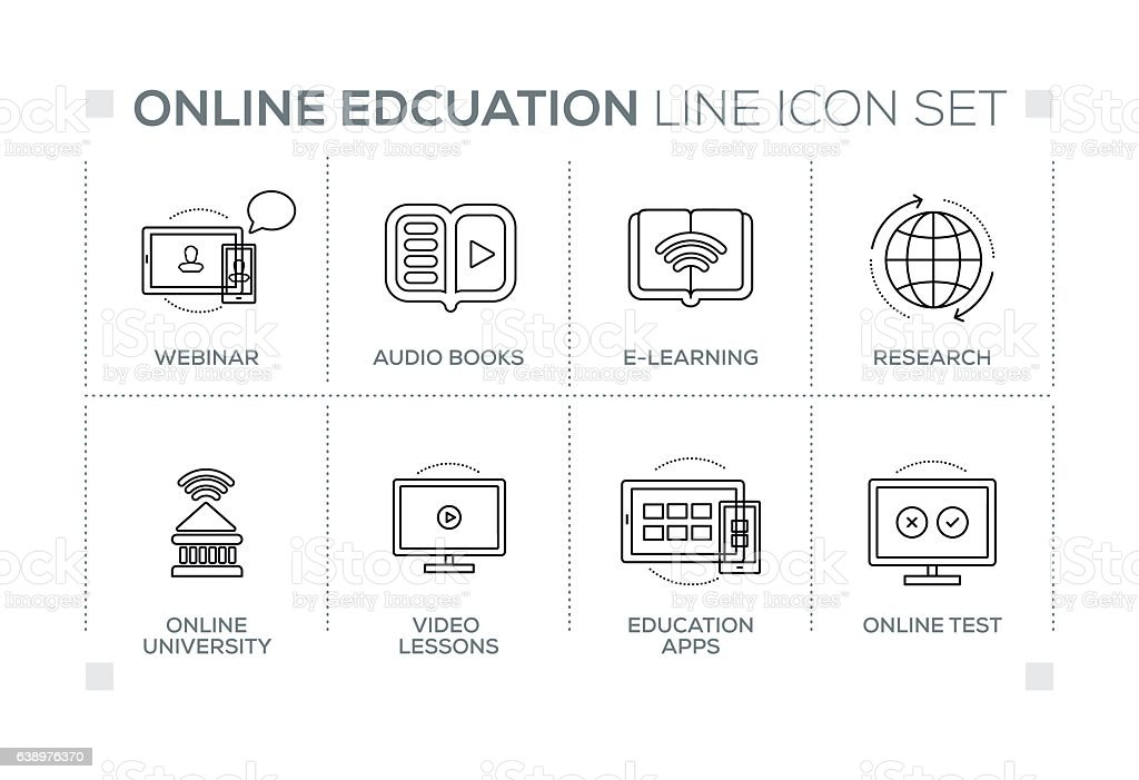 Online Education keywords with monochrome line icons vector art illustration