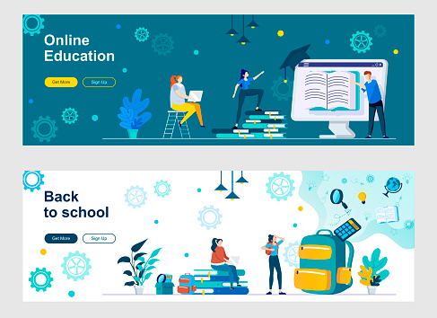 Online education landing page with people characters. Distance learning, online courses and webinars web banners