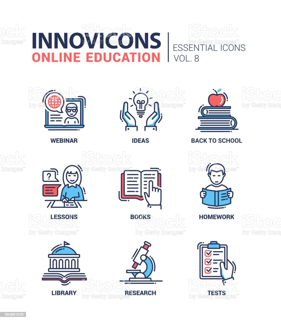 Online education line design icons set vector art illustration