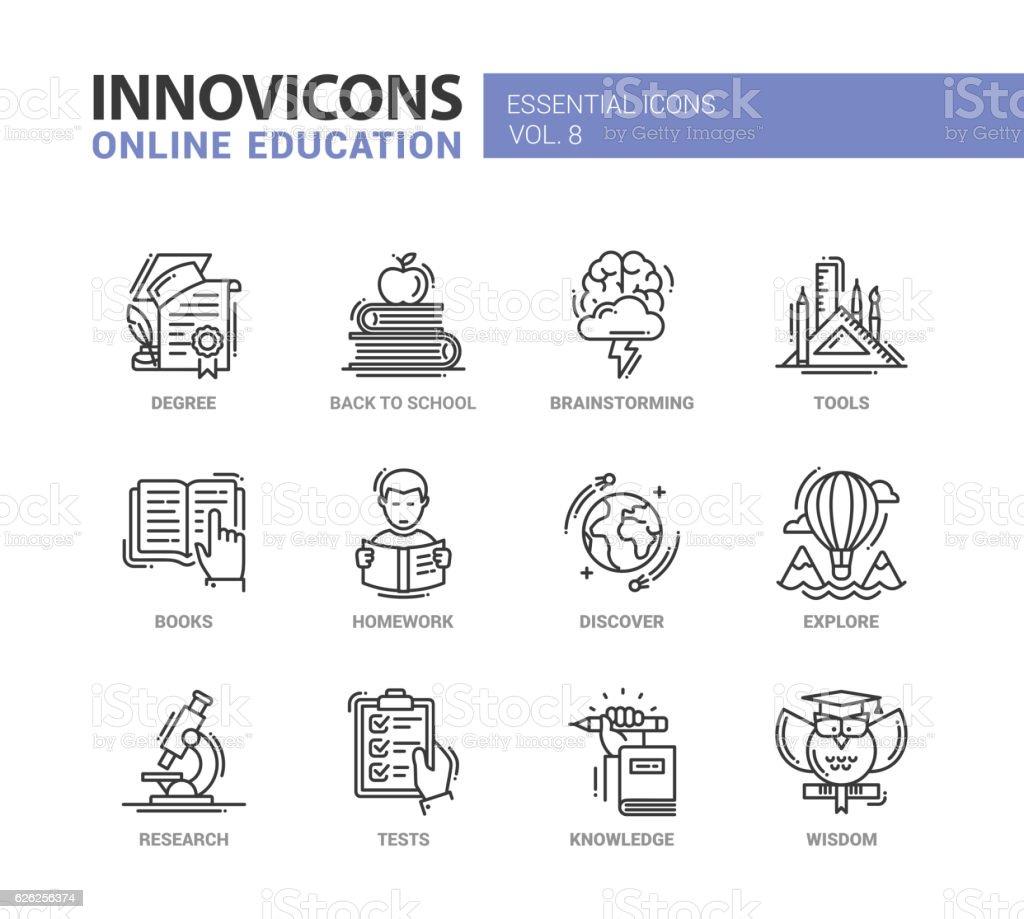 Educação on-line Conjunto de ícones do design - ilustração de arte em vetor