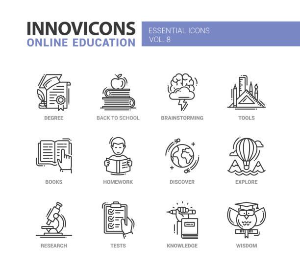 ilustrações, clipart, desenhos animados e ícones de educação on-line conjunto de ícones do design - aula de ciências