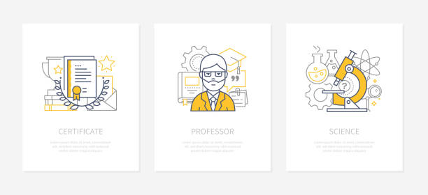 Online education - line design style icons set vector art illustration