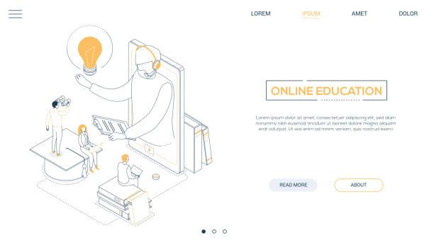 Online-Bildung-Line-Design Stil isometric Web-Banner – Vektorgrafik