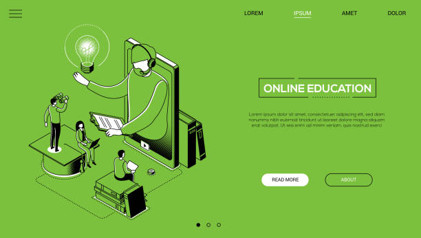 Online education - line design style isometric web banner vector art illustration