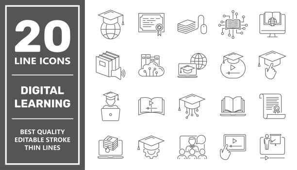 Online education line icon set. Digital learning, remote education concept. Editable Stroke. EPS 10 vector art illustration