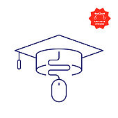 E-Learning Line Icon with Editable Stroke and Pixel Perfect.