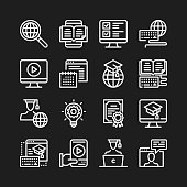 Online education line icons. Distance education, online tutorials, elearning concepts. Modern linear graphic elements, simple outline thin line design symbols collection. Pixel perfect. Vector icons set