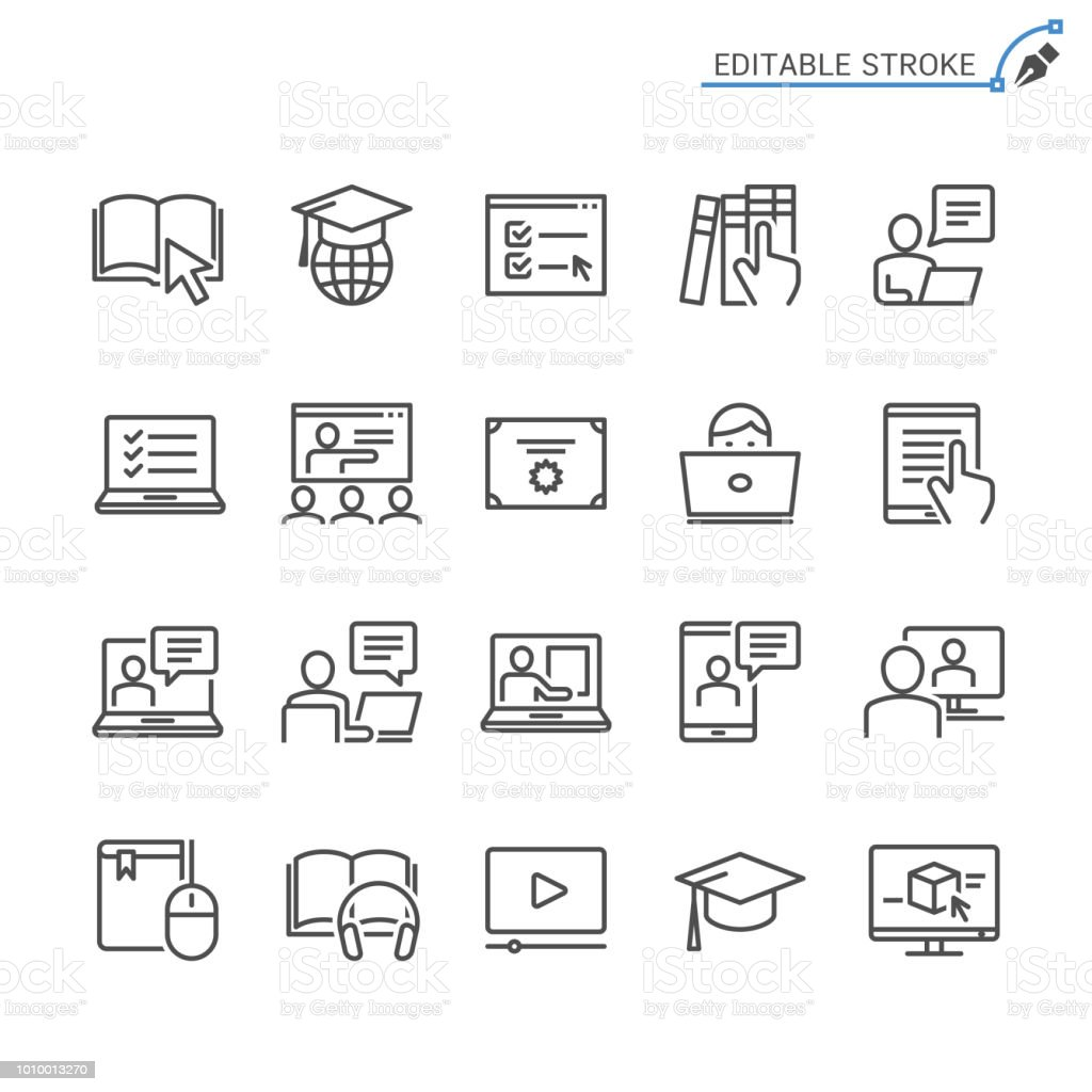 Online education line icons. Editable stroke. Pixel perfect. vector art illustration