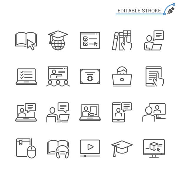 online education line icons. editable stroke. pixel perfect. - school stock illustrations
