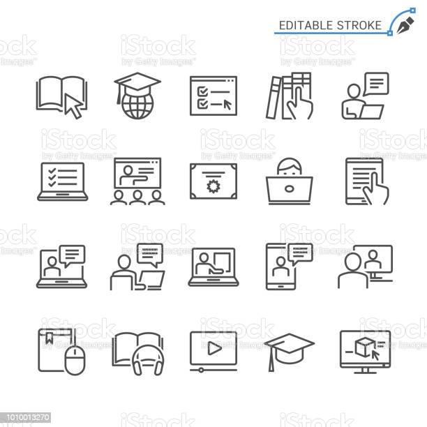 線上教育線圖示可編輯筆劃圖元完美向量圖形及更多互聯網圖片