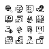 Online education line icons set. 48x48 px. E-learning, elearning, distance education, online video courses, digital tutorials concepts. Modern graphic design. Simple stroke outline elements collection. Stroke, linear design. Pixel perfect. Vector line icons