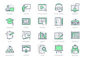 Online education line icons. Vector illustration included icon as internet, video, audio personal study outline pictogram for school, colledge, university trainig. Green color, Editable Stroke.
