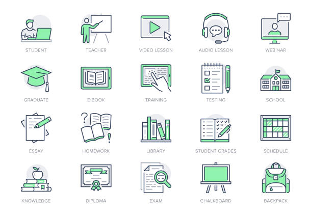 Online education line icons. Vector illustration included icon as internet, video, audio personal study outline pictogram for school, colledge, university trainig. Green color, Editable Stroke Online education line icons. Vector illustration included icon as internet, video, audio personal study outline pictogram for school, colledge, university trainig. Green color, Editable Stroke. education icons stock illustrations