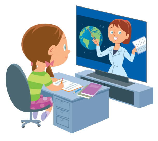 online education. little girl - e-learning not icons stock illustrations