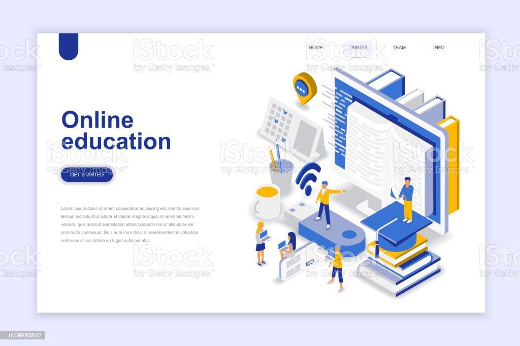 Conceito isométrica do moderno design plano educação on-line. - ilustração de arte em vetor
