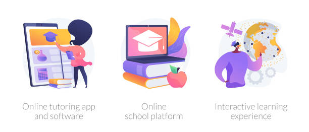 Online education opportunities abstract concept vector illustrations. Online education opportunities abstract concept vector illustration set. Online tutoring app and software, virtual school platform, interactive learning experience, homeschooling abstract metaphor. enrollment stock illustrations