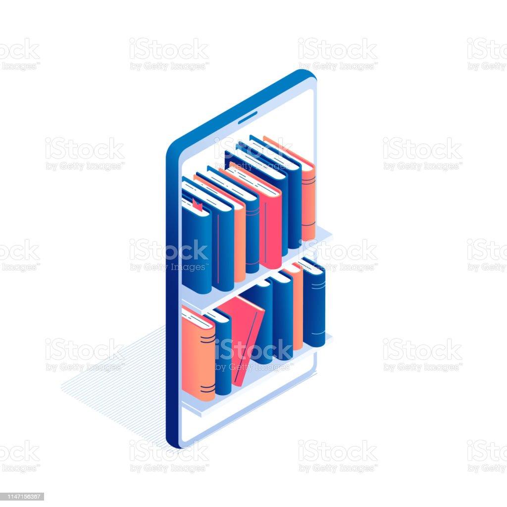 Educação online ou conceito isométrico de leitura de livros electrónicos. - Vetor de Agenda royalty-free